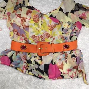 Vintage Escada belt orange w pink !! rare